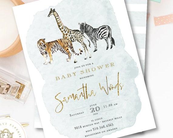 Jungle invitation Safari Baby Shower invitation baby shower invitation Giraffe invitation Jungle Baby Shower Zebra Tiger Watercolor
