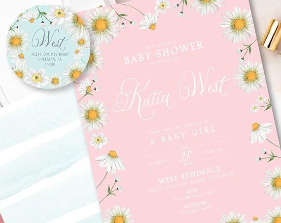 Daisy Baby Shower Invitation - Baby shower invitation - Meadow baby shower invitation - Summer invitation - Daisy baby shower invite