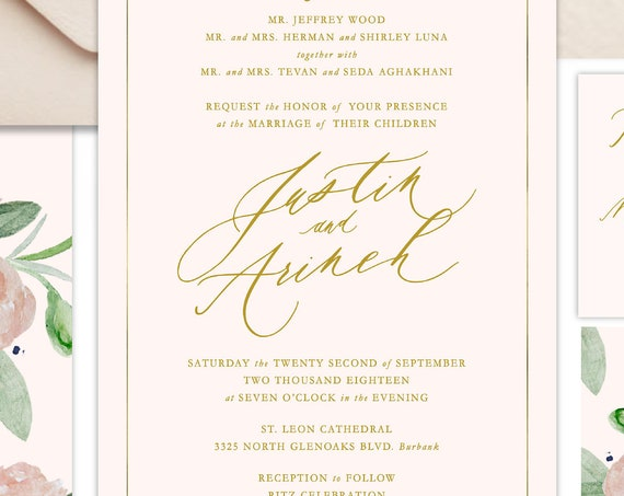 Classic Wedding Invitation | Wedding invitation | Calligraphy Wedding Invitation | Blush Pink invitation | Elegant Wedding invitation