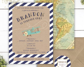 Vintage airplane invitation - first birthday invitation - vintage airplane invitation - plane invitation - boys invitation -adventure awaits