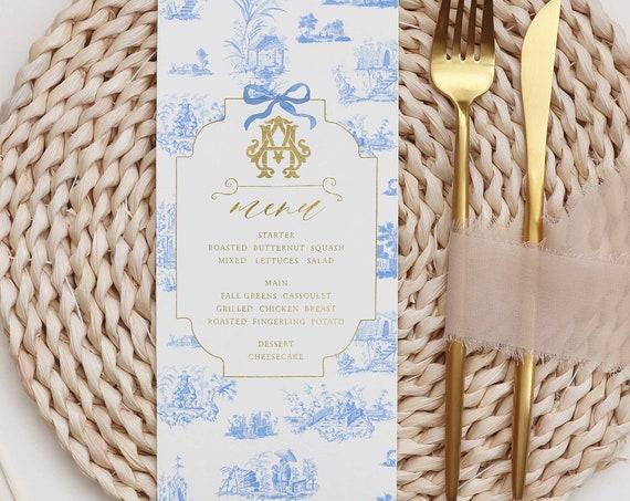 Chinoiserie menu cards - Ginger Jar menu cards - calligraphy Menu  - pretty menu - Freshmint Paperie