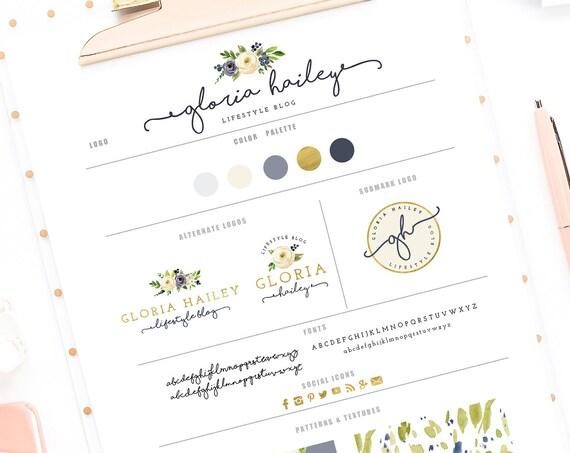 pretty logo design - floral logo - calligraphy logo - flower logo - watercolor logo - handwritten logo - freshmint paperie