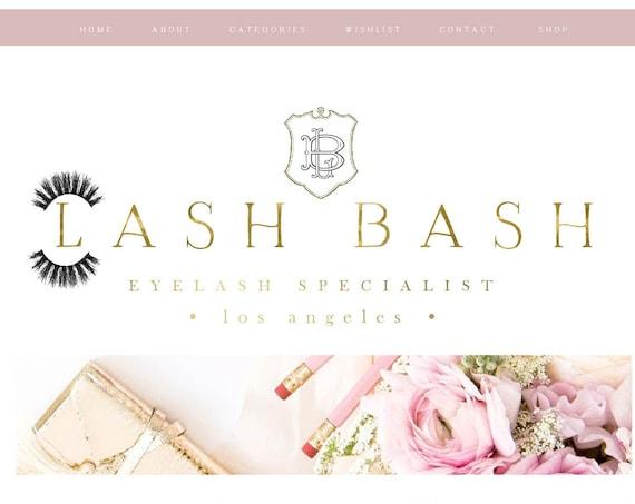 lash logo - brush script logo design - branding - calligraphy logo - eyelash logo - eyelash extensions - freshmint paperie