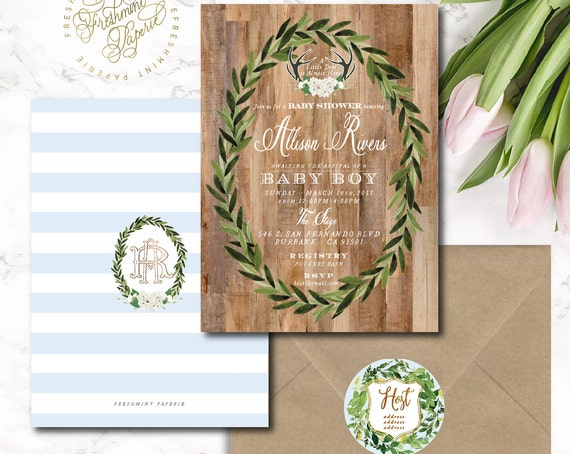 Winter woodland baby shower invitation - deer invitation - woodland invitation - rustic invitation - freshmint paperie