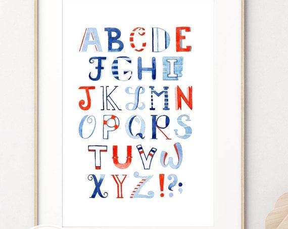 Nautical Alphabet wall art, Nursery wall art, Nursery Name wall art, Nautical Watercolor Alphabet, Kids room wall art, Baby shower gift