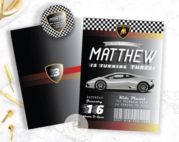 Race Car invitation - Racing invitation - Car Invitation - Lamborghini Invitation - Boys Birthday - Lamborghini Invite - Huracan Lamborghini