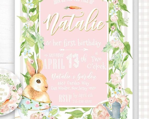 Bunny invitation | Bunny Birthday Invitation | Tea Party invitation |  Easter Invitation | Easter Bunny Invite | Tea Time Invite