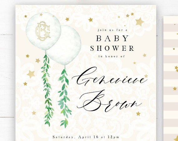Neutral Baby Shower Invitation - baby shower invitation - baby shower invitation - balloon invitation - Neutral baby shower