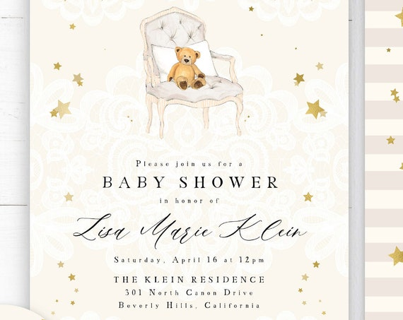 Teddy Bear invitation - baby shower invitation - Rustic teddy bear invitation - rustic invitation - Freshmint Paperie