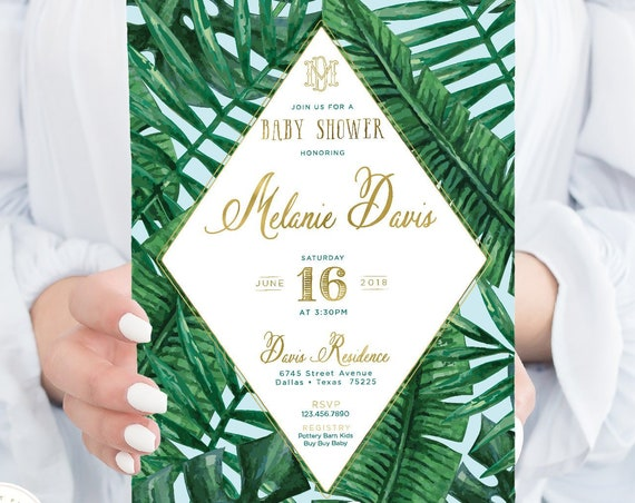 Tropical invitation - banana leaf invitation - baby boy shower invitation - palm tree invitation - baby shower - freshmint paperie