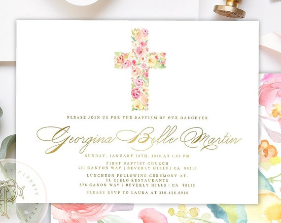 Baptism invitations, Floral baptism invitation, Christening Invitation, Dedication invitation, Religious invitation, Floral Cross - 602