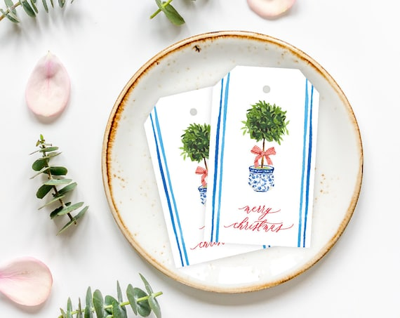 Blue and White Ginger Jar with Topiary Gift Tag | Monogram Enclosure Card | Custom Gift Tag | Topiary Gift Tag | Chinoiserie Style