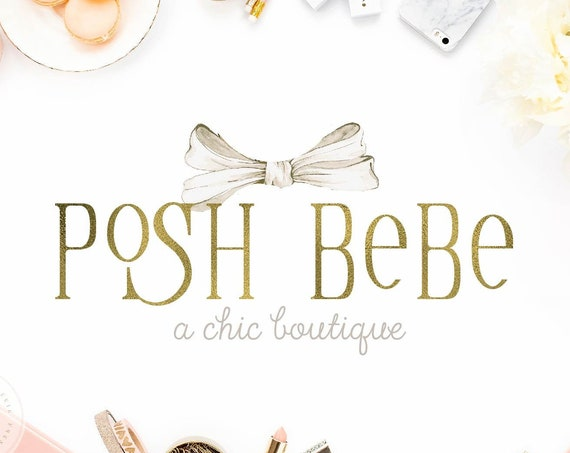 Boutique logo - Baby Boutique Logo - Kids Boutique Logo - Ribbon logo - Pretty Logo - Chic Logo - Gold Logo design - Monogram Logo - Elegant
