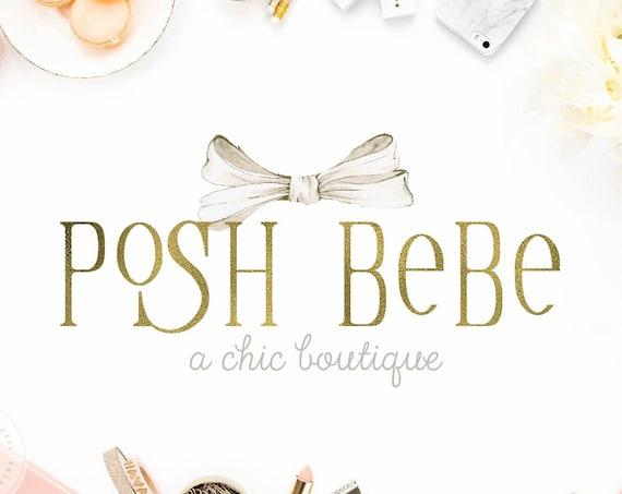 Boutique logo - Baby Boutique Logo - Kids Boutique Logo - Ribbon logo - Pretty Logo - Chic Logo - Gold Logo design - Monogram Logo - Elegant