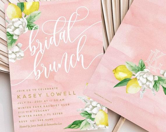 Lemon Bridal Brunch Invitation - Lemon Branch Shower invitation - Bridal Shower Invitation - Brunch invitation - Citrus Invitation