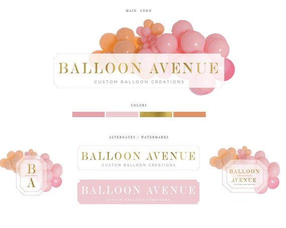 Balloon Logo - Balloon Logo design - Modern Logo - Branding - Children's Boutique Logo - Balloons Logo -  freshmint paperie