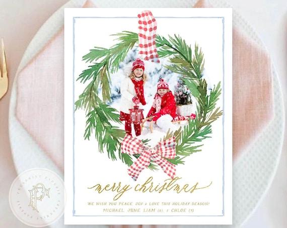 Printable Holiday Cards, Christmas card, Wreath holiday card, Photo holiday cards, Pretty Holiday Cards, set 13