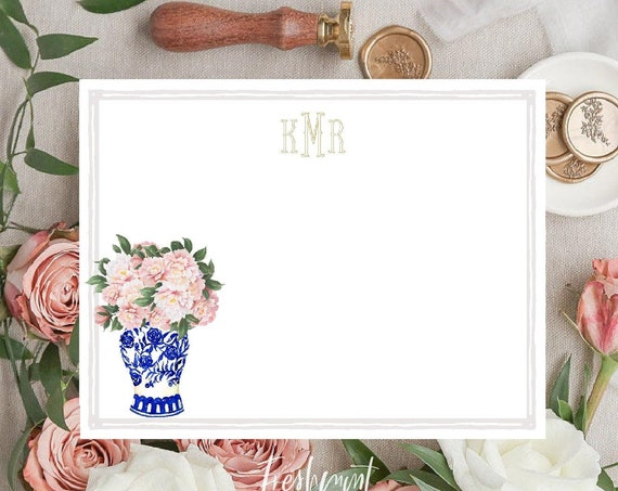 Personalized Stationery - Peony Ginger Jar Note Cards - Peony Stationery Note Cards - Ginger Jar Notecards - Chinoiserie - set40