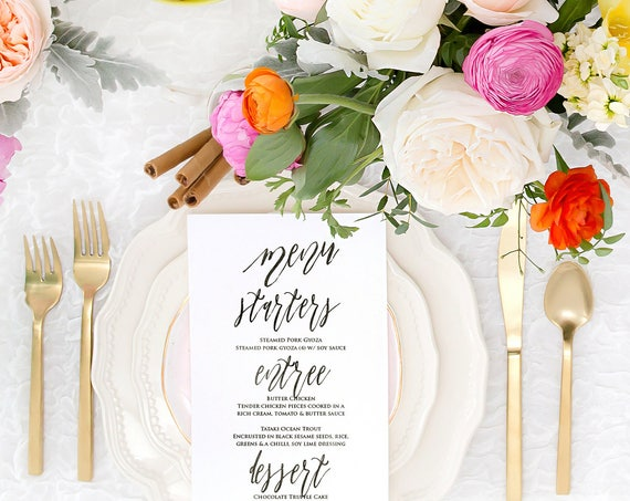 calligraphy menu cards - Custom menu cards - calligraphy Menu  - pretty menu - Freshmint Paperie