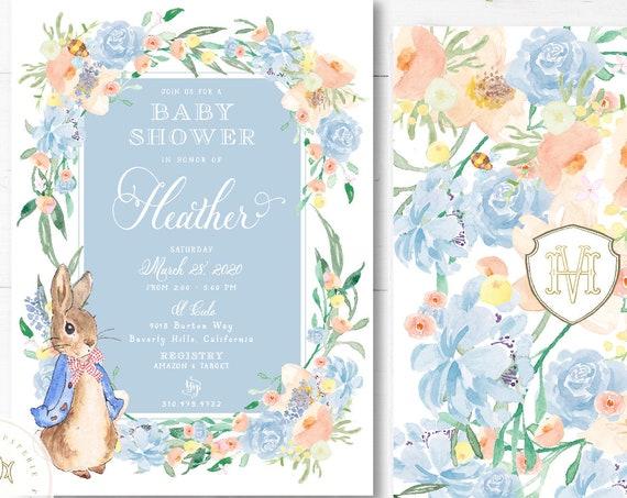 Bunny baby shower invitations, Spring Garden invitation, baby shower, Easter invitation, Peter Rabbit invitation, Floral Bunny Baby shower