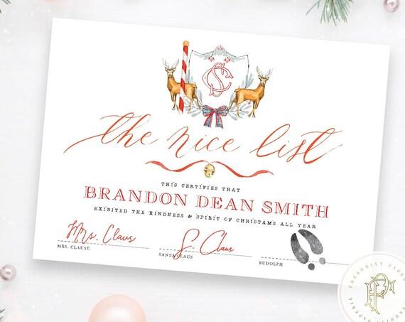 Santa Claus Nice List Certificate - Santa Claus Certificate - Letter form Santa - North Pole Express Letter - Santa Letter - Note from Santa