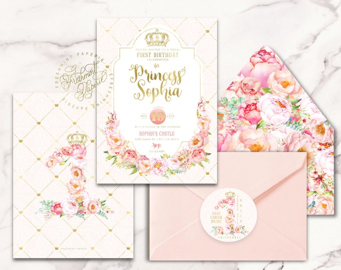 Princess Crown Invitation   royal invitation   first birthday   princess invitation   floral invitation   crown   freshmint paperie