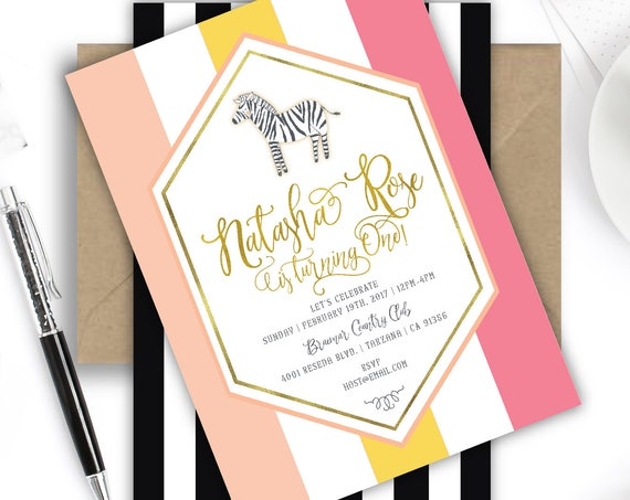 zebra invitation - first birthday invitation - safari invitation - zoo invitation - jungle invitation - freshmint paperie