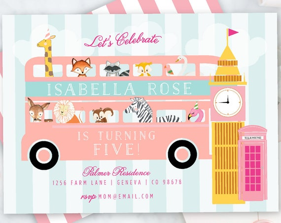 Party Animal invitation, Safari invitation, London invitation, Girly Party Animal, Animals with Party Hats, Pink Bus, Zoo Party, Giraffe,