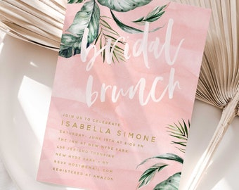 Bridal Brunch Invitation - Tropical Bridal Shower invitation - Bridal Shower Invitation - Brunch invitation - Palm invitation