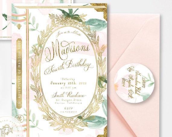 Storybook invitation | library invitation | Laduree birthday invitation | Girly invitation | Book invitation | Floral book | storybook