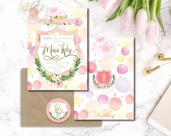 cue the confetti invitation - first birthday invitation - confetti invitation - pretty invitations - floral invitation - freshmint paperie