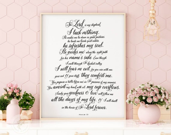 Psalm 23 | Scripture Sign | Scripture Decor | Bible Verse Sign | Psalm 23 Verse | Bible Verse Typography | The Lord is my shepherd