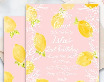 Lemon Birthday invitation | Floral Lemon Birthday Invitation | Birthday invitation | French Country Invitation | Countryside invite