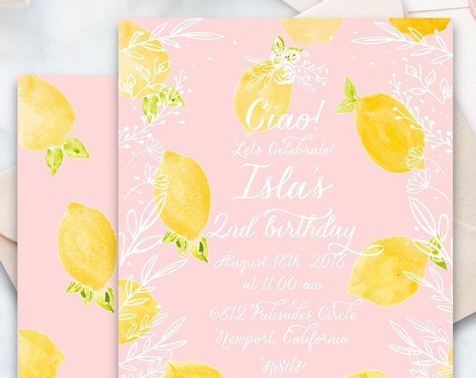 Lemon Birthday invitation   Floral Lemon Birthday Invitation   Birthday invitation   French Country Invitation   Countryside invite