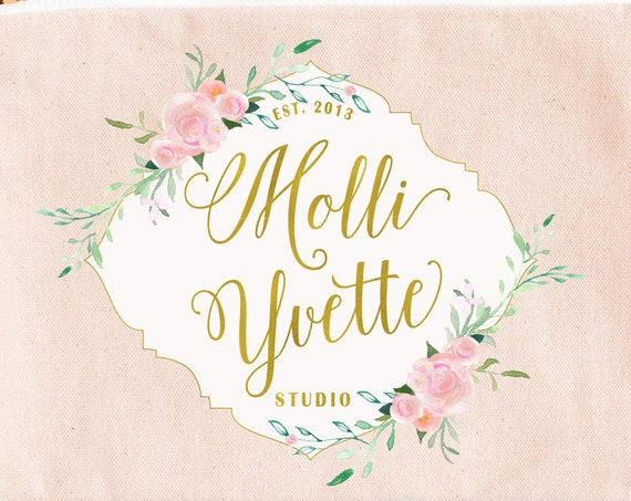 floral crest logo - logo design  - calligraphy logo - pretty logo - floral logo - ornate logo - pretty logo design - watercolor logo