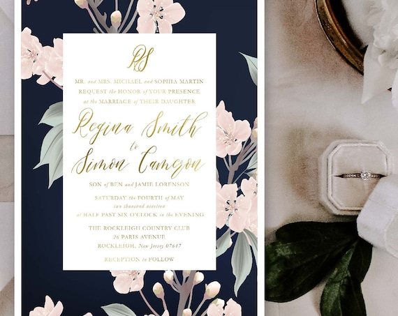 Classic Wedding Invitation | Wedding invitation | Calligraphy Wedding Invitation | Calligraphy invitation | Navy Floral Wedding invitation