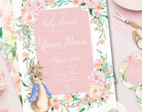 Bunny baby shower invitations, rabbit invitation, baby shower, Easter invitation, Peter Rabbit invitation, Floral Bunny Baby shower