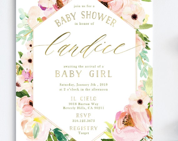 Baby Shower invitation - baby shower invitation - Pink floral baby shower invitation - Watercolor flower invitations - Baby Shower