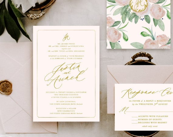 Classic Wedding Invitation | Wedding invitation | Blush Wedding Invitation | Calligraphy invitation | Calligraphy Wedding invitation | 111