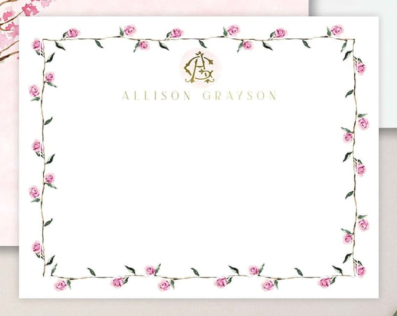Personalized Stationery - Monogram Note Cards - Monogram Stationery Note Cards - Stationery Suite - blush pink watercolor - set36