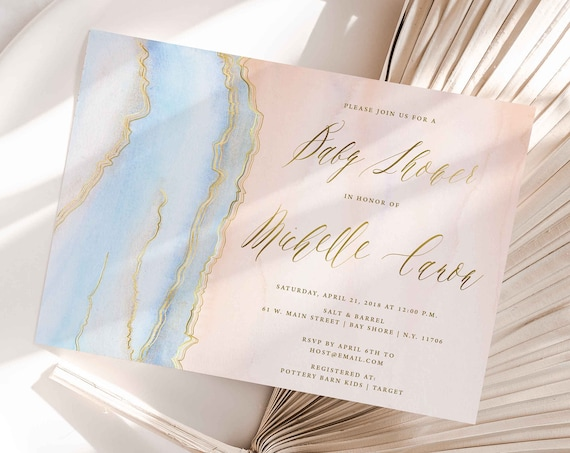 Agate invitation - Geode invitation - Baby Shower invitation - Watercolor invitation - Baby Shower invite - Marble invitation
