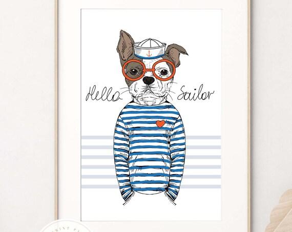 French Bulldog wall art, Sailor wall art, Nursery wall art, French Bull Dog, Bulldog wall art, Kids room wall art, Baby shower gift