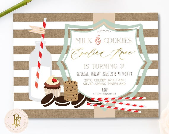 milk & cookies invitation - burlap invitation - sleepover invitation - cookie invitation - pajama party - freshmint paperie