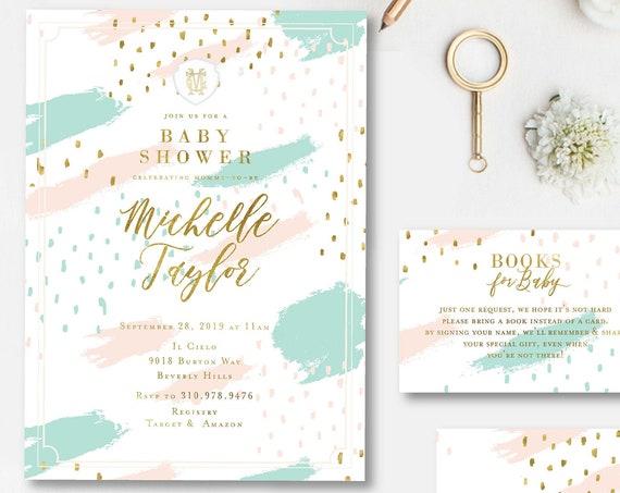 Abstract invitation - Watercolor invitation - Baby Shower invitation - Twins invitation - Mint & Blush Pink invitation - Confetti Invitation