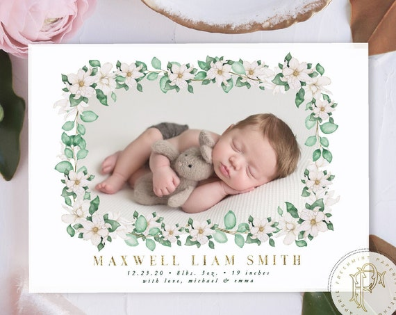 Watercolor Birth Announcement, Magnolia flowers, Birth Announcement, Monogram Birth Announcement, Monogram Announcement, Welcome Baby