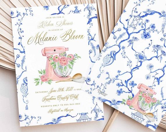 Kitchen Shower invitation, bridal shower invitation, Ginger Jar invitation, stock the kitchen invitation, Chinoiserie invitation