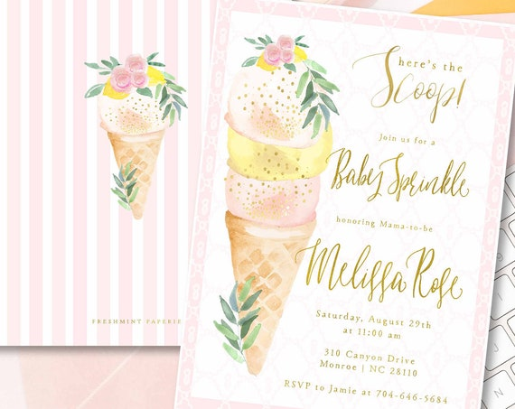 Baby Sprinkle invitation - Sprinkle Invitation - Ice Cream Baby Shower - Ice Cream Invitation - Baby Shower Invitations - Baby Sprinkle