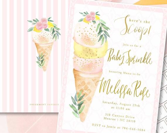 Baby Sprinkle invitation - Sprinkle Invitation - Ice Cream Baby Shower - Ice Cream Invitation - Baby Shower Invitations - Baby Sprinkle