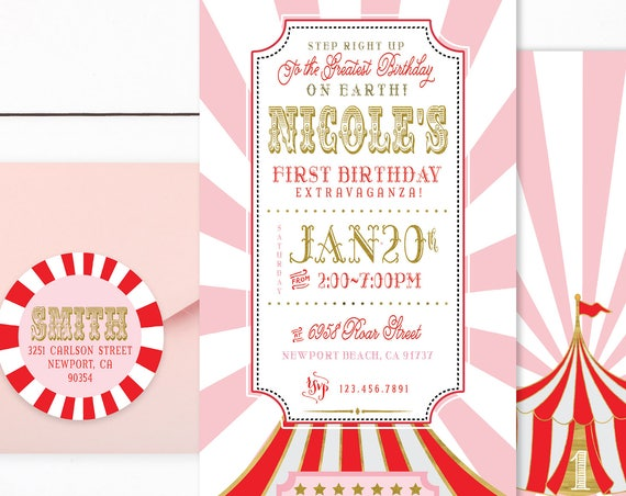 Circus ticket invitation - carnival invitation - circus invitation - carnival ticket invitation - kids birthday invitation - ticket invite