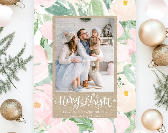 Printable Holiday Cards, Christmas card, Photo Christmas cards, Photo holiday cards, Pretty Holiday Cards, Floral Holiday card